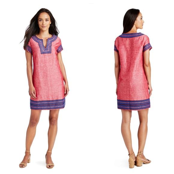 2b1bbeeec8f Vineyard Vines Dresses | Red Velvet Embroidered Tunic Dress | Poshmark